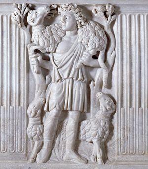 Il buon pastore , bassorilievo del III secolo. Urbino, chiesa di San Francesco.