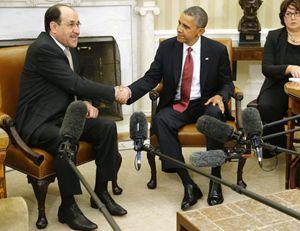 Il premier iracheno Nur Al-Maliki con il presidente Obama alla Casa bianca (Reuters).