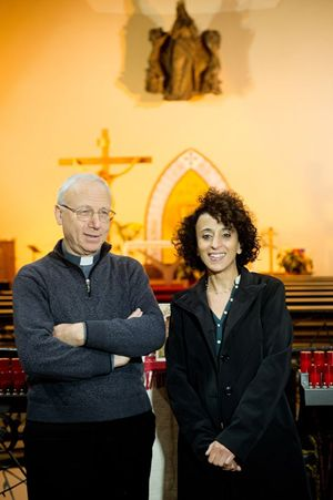 Da sinistra: don Isidoro Taschin e Soraya Asloune. Foto di Giancarlo Giuliani/Cpp.