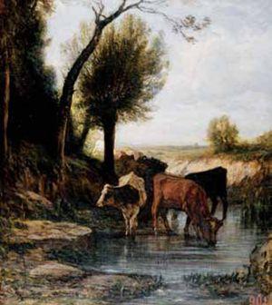 Abbeveratoio, Antonio Fontanesi (1818-1882), Bologna, Pinacoteca Nazionale.