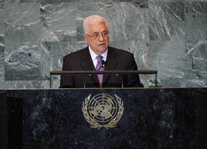 New York. Lo storico intervento del presidente dell'Autorità palestinese  Abu Mazen alla sessantaseiesima Assemblea generale dell'Onu, venerdì 23 settembre 2011. Foto Ansa.