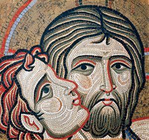 Bacio di Giuda, copia del mosaico della basilica di San Marco, Venezia.