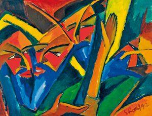 """I farisei"" di Karl Schmidt-Rottluff, olio su tela, 1912. New York, Museum of Modern Art (MoMA)."