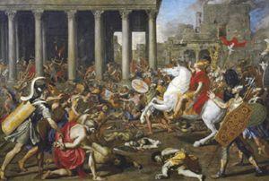 La conquista di Gerusalemme e la distruzione del Tempio da parte dell'imperatore Tito nell'anno 70 nel dipinto di Nicolas Poussin, 1638. Vienna, Kunsthistorisches Museum (Scala).