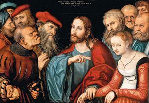 Lucas Cranach il Vecchio (1472-1553), Donna sorpresa in adulterio, 1532. Budapest, Museo di Belle Arti.