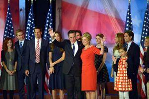 Mitt Romney con la sua famiglia al convention center di Boston la notte delle elezioni (Ansa).
