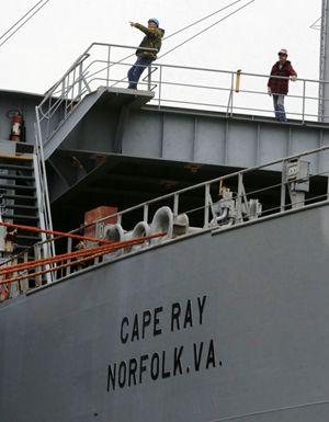 Un'immagine della nave Usa Cape Ray, appositamente attrezzata per rendere inerti e distruggere armi chimiche. Foto Reuters.