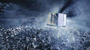 Un'altra immagine ricostruita con la computer grafica che prefigura l'atterraggio del lander Philae, dopo essersi staccato dalla sonda spaziale Rosetta, sulla cometa Churyumov-Gerasimenko.