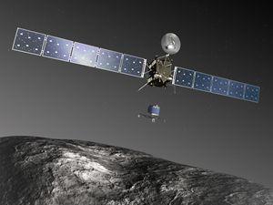 """Ecco come la computer grafica immagina l'avvicinamento di """"Rosetta"""" sulla superficie della cometa 67P/Churyumov-Gerasimenko."""