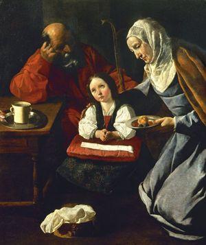 L'educazione della Vergine, dipinto di Francisco Zurbaràn (1598-1664). Madrid, collezione privata.