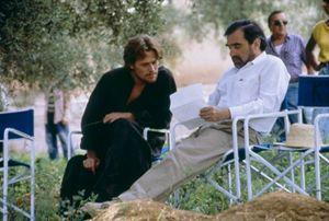 Willem Dafoe e il regista Martin Scorsese sul set de L'ultima tentazione di Cristo.