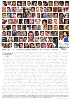 Un collage con i volti di alcune delle vittime del naufragio (copyright Sant'Egidio)