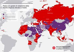 La mappa della libertà religiosa nel mondo