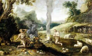 L'offerta di Caino, dipinto di scuola fiamminga. Pamplona, Museo de Navarra.