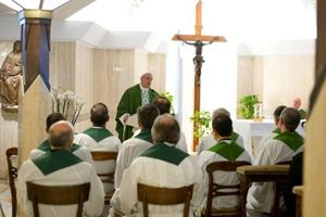 Papa Francesco durante una delle omelie a Santa Marta (Ansa).