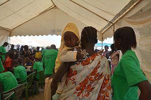 Uno dei campi profughi Unicef nati in queste settimane in Sud Sudan (Questa e la foto di copertina sono Unicef/Crowe).