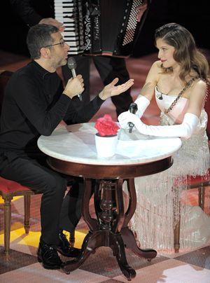 Fabio Fazio con Laetitia Casta