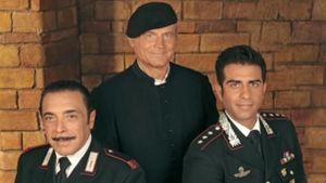 """Nino Frassica, Terence Hill e Simone Montedoro, protagonisti di """"Don Matteo"""""""