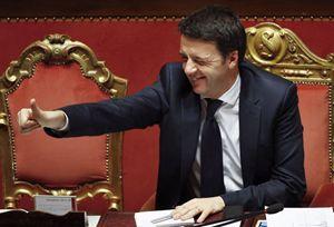 Matteo Renzi al Senato (Reuters).