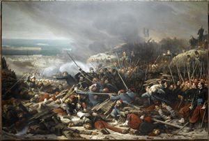 La battaglia per il bastione di Malachov durante la guerra di Crimea 1853-1856.