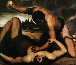 """""""Caino e Abele"""" di Palma il Giovane (1615-1620). In alto: """"Caino uccide Abele"""" di Tintoretto (1550-1553)."""