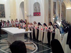 La celebrazione per l'ingresso delle monache a Squillace.