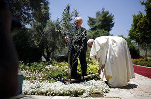 Papa Francesco e il presidente israeliano Peres piantano un olivo nel Memoriale dell'Olocausto (Reuters).