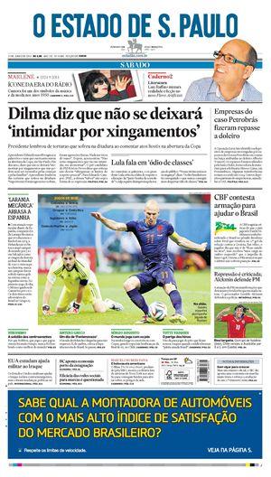 """La prima pagina dell' """"Estado de S. Paulo"""""""