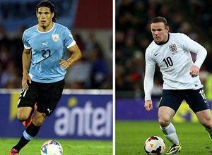 Edinson Cavani e Wayne Rooney, stelle a confronto tra Uruguay e Inghilterra.