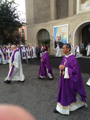 I funerali di don Silvio Sassi, Superiore generale dei Paolini, a Roma (fotografia di don Roberto Ponti).
