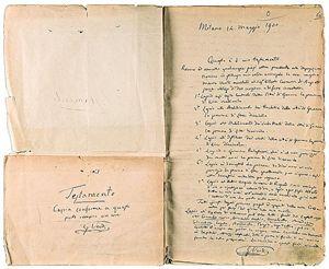 Nella foto: il testamento di Giuseppe Verdi: fece una lista molto dettagliata con le iniziative benefiche da sostenere (vedi articolo di questo dossier sui personaggi famosi che hanno scelto di fare lasciti solidali).