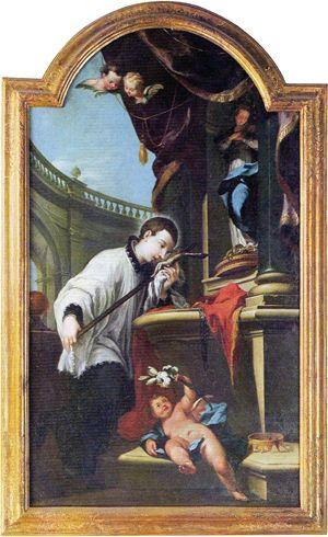 san Luigi Gonzaga adora il Crocifisso. Tela di Pietro Scalvini