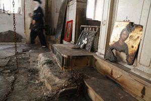 Siria, 21 agosto 2014: così si presentava una chiesa cristiana di Maaloula, devastata da fondamentalisti islamici. Foto Reuters.