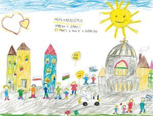 """Uno dei disegni pubblicati nel volume """"Ma fa caldo con la tuta bianca? Papa Francesco raccontato dai bambini"""""""