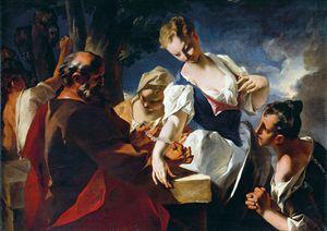Rebecca ed Eliezer al pozzo, dipinto di Nicola Grassi (1682-1748). Venezia, San Francesco della Vigna.