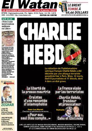 La prima pagina del quotidiano algerino El Watan dopo la strage di Parigi