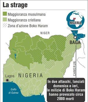 La zona della strage. In copertina, un ragazzo ferito nel corso di un attacco di Boko Haram (foto e mappa Ansa). (Ansa)