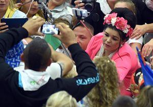 Città del Vaticano, lunedì 26 ottobre 2015. Papa Francesco incontra circa 7 mila gitani. Foto Ansa.