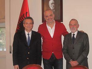 Marco Impagliazzo, presidente della Comunità di Sant'Egidio con Edi Rama, premier Albanese visitato in occasione dell'organizzazione dell'evento.