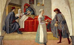 """""""Visitare gli infermi"""", affresco di Domenico Ghirlandaio (1449-1494). Firenze, chiesa di San Martino dei Buonomini."""