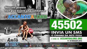 Il manifesto della campagna di raccolta fondi di Amlib. In copertina: don Matteo Galloni con uno dei bambini accolti nella missione di Kinshasa (le foto sono di Margherita Mirabella).