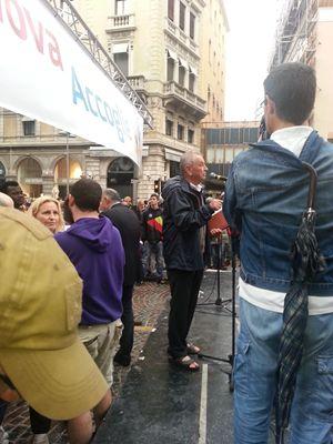 don Albino Bizzotto alla manifestazione