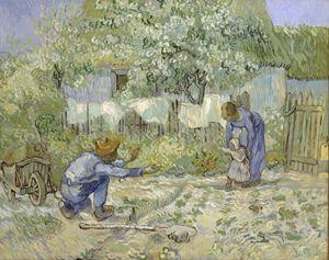 Primi passi, dipinto di Vincent van Gogh (1853-1890). New York, Metropolitan Museum of Art.