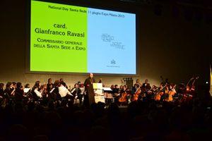 Il cardinale Ravasi inaugura il Vatican Day all'Expo (foto F. Scaglione).