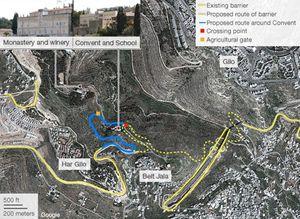 Il tracciato della Barriera di Separazione nel primo progetto (bocciato dalla Corte Suprema) del ministero della Difesa di Israele.