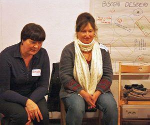 Irina e Tetiana, due delle lavoratrici assistite da Soleterre che partecipano agli incontri di sostegno.