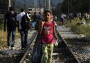 Migrant girl walks