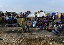 Migrants camp near