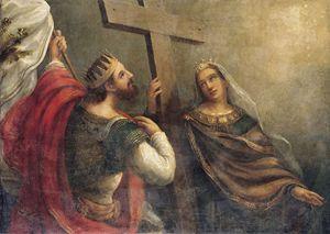 Vasiliy Sazonov, l'imperatore Costantino e Sant'Elena presentano la Santa Croce