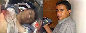 Qui e in copertina: Hashim al-Homran, in azione con la sua telecamera e mentre viene trasportato all'ospedale per le gravi ferite riportate. E' morto il 22 gennaio.